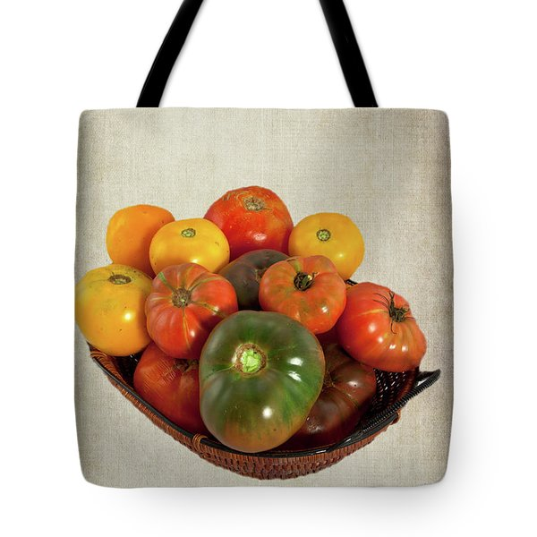 Tote Bag featuring the photograph Tomatoes In A Basket Wide by Dan Carmichael