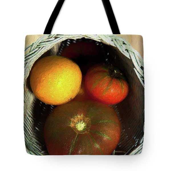 Tote Bag featuring the painting Tomatoes In A Horn Of Plenty Basket 2 Ap by Dan Carmichael
