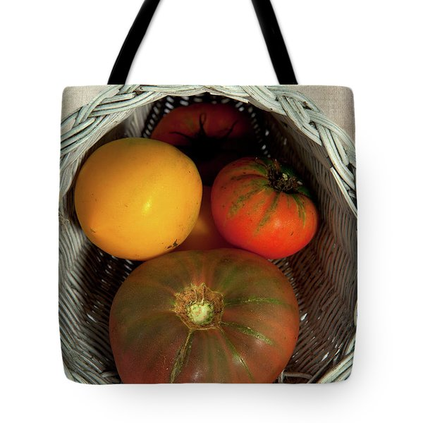 Tote Bag featuring the photograph Tomatoes In A Horn Of Plenty Basket 2 by Dan Carmichael