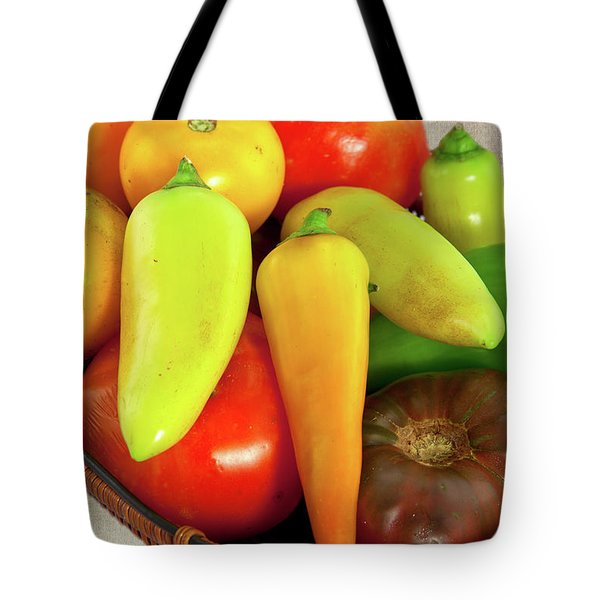 Tote Bag featuring the photograph Tomatoes Peppers In A Basket by Dan Carmichael