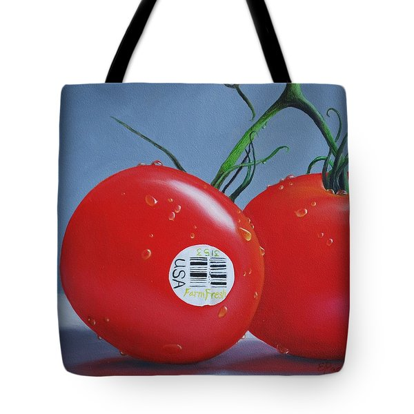 Tomatoes With Sticker Tote Bag