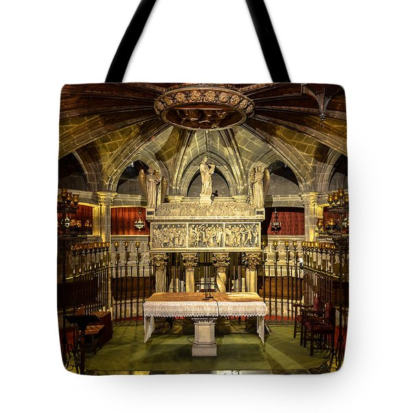 Tomb Of Saint Eulalia In The Crypt Of Barcelona Cathedral Tote Bag