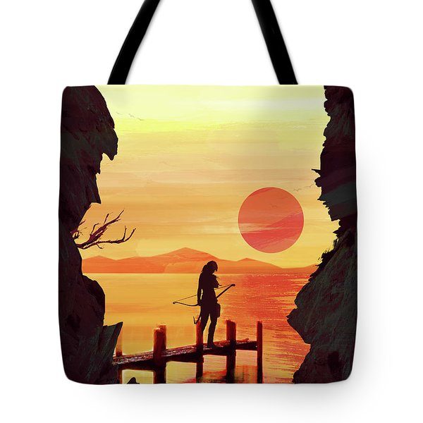Tote Bag featuring the digital art Tomb Raider by IamLoudness Studio