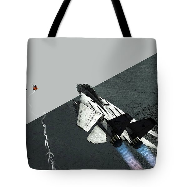 Tote Bag featuring the digital art Tomcat Kill by Walter Chamberlain
