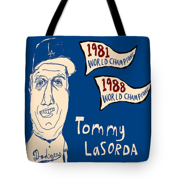 Tommy Lasorda Los Angeles Dodgers Tote Bag by Jay Perkins