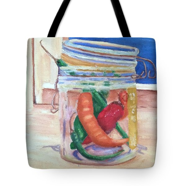 Tote Bag featuring the painting Tommy's Peppers by Patricia Cleasby