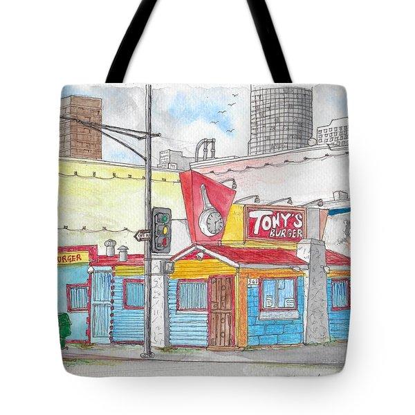 Tony Burger, Downtown Los Angeles, California Tote Bag
