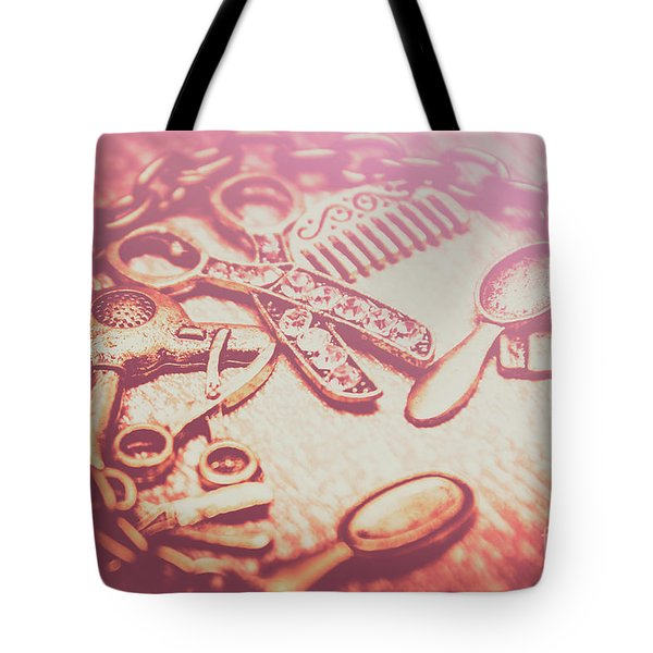 Toned Image Hair Styling Toys Surrounded By Chain On Table Tote Bag