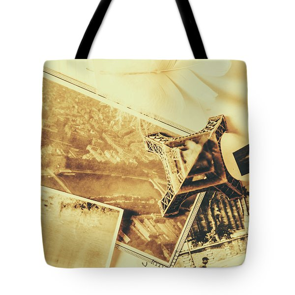 Toned Image Of Eiffel Tower And Photographs On Table Tote Bag