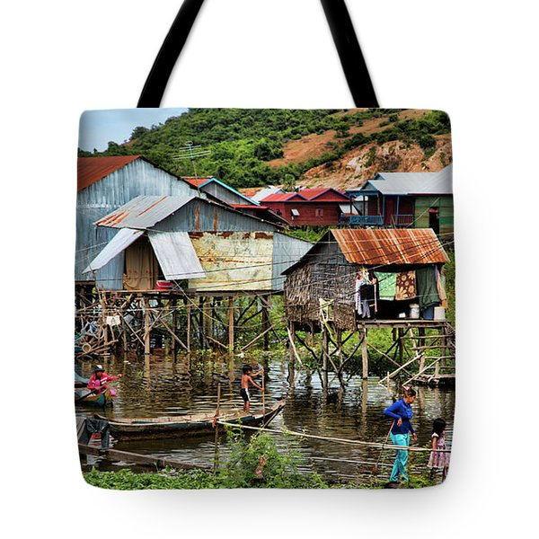 Tonle Sap Boat Village Cambodia Tote Bag