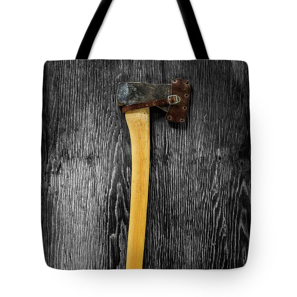 Tote Bag featuring the photograph Tools On Wood 11 On Bw by YoPedro