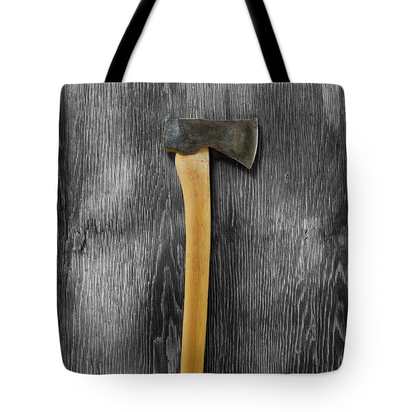 Tote Bag featuring the photograph Tools On Wood 12 On Bw by YoPedro