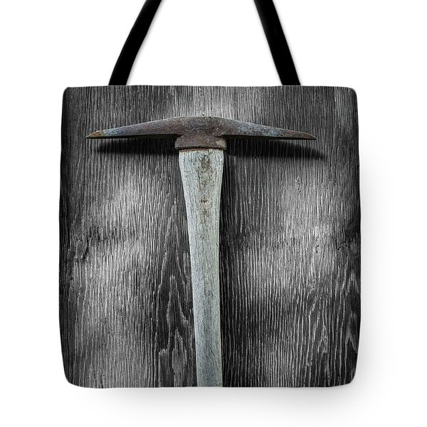 Tote Bag featuring the photograph Tools On Wood 13 On Bw by YoPedro