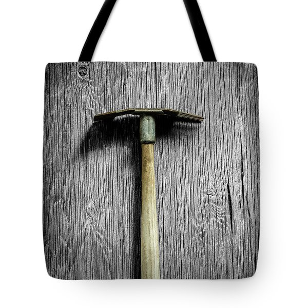 Tote Bag featuring the photograph Tools On Wood 16 On Bw by YoPedro