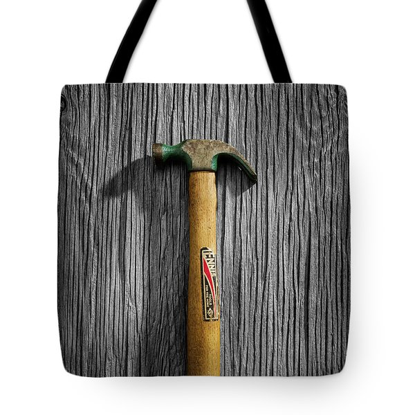 Tote Bag featuring the photograph Tools On Wood 17 On Bw by YoPedro
