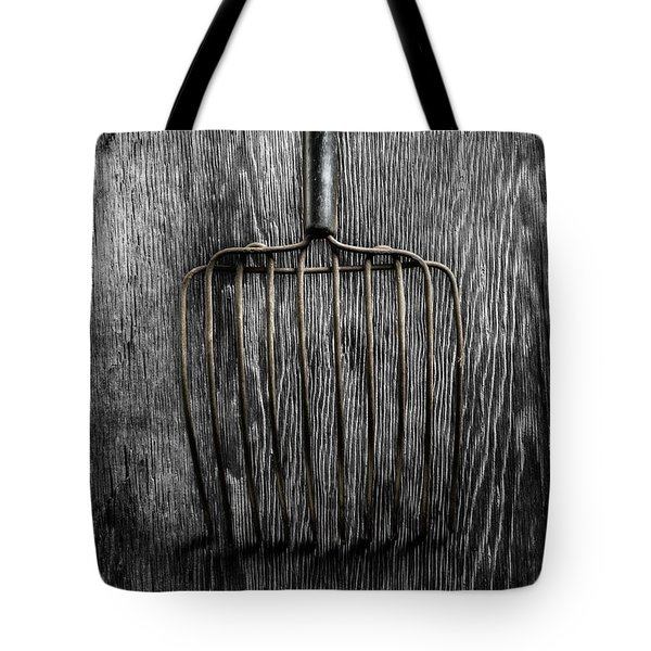 Tote Bag featuring the photograph Tools On Wood 25 On Bw by YoPedro