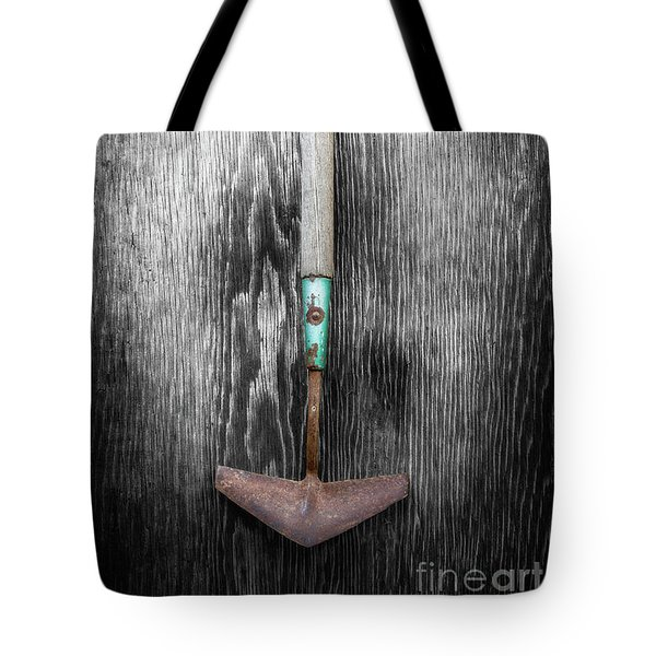 Tote Bag featuring the photograph Tools On Wood 5 On Bw by YoPedro