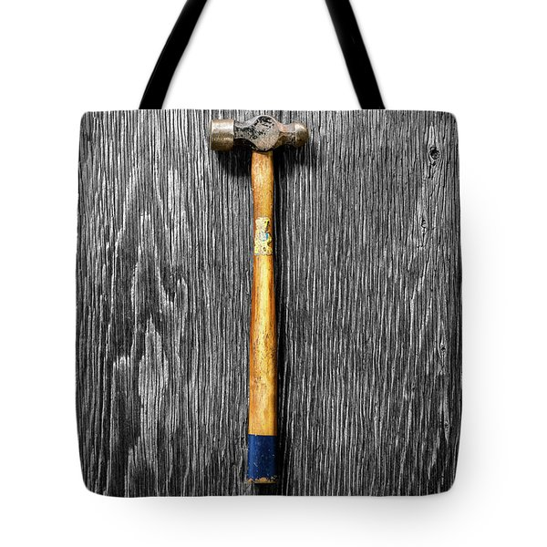 Tote Bag featuring the photograph Tools On Wood 51 On Bw by YoPedro