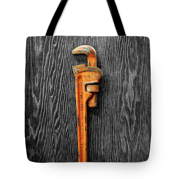 Tote Bag featuring the photograph Tools On Wood 60 On Bw by YoPedro