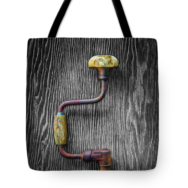 Tote Bag featuring the photograph Tools On Wood 61 On Bw by YoPedro