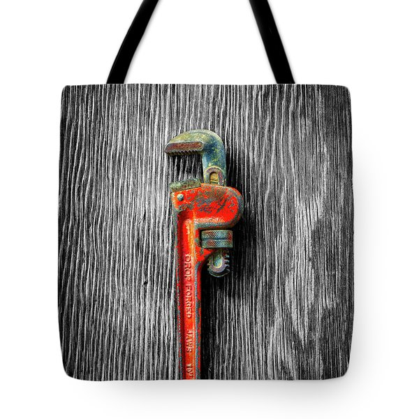 Tote Bag featuring the photograph Tools On Wood 62 On Bw by YoPedro