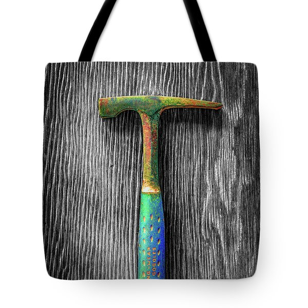 Tote Bag featuring the photograph Tools On Wood 63 On Bw by YoPedro