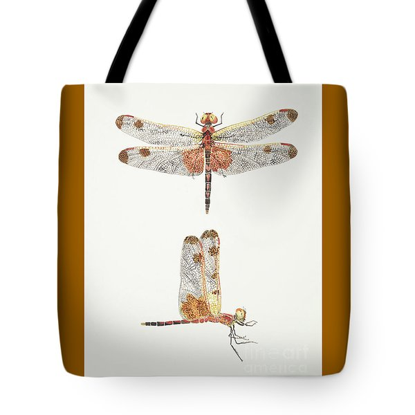 Top And Side Views Of A Male Calico Pennant Dragonfly Tote Bag