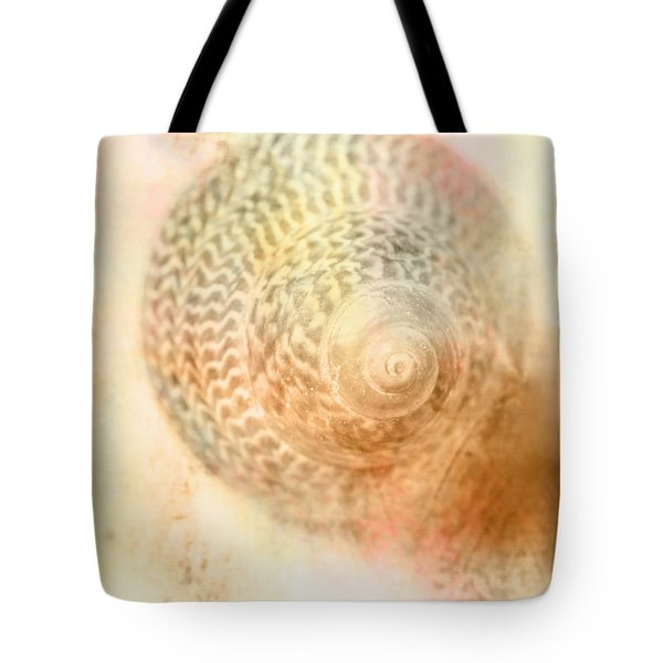 Top Down View Of Spiral Sea Shell Tote Bag
