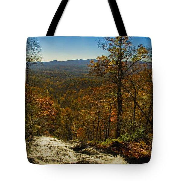 Top Of Amicola Falls Tote Bag by Barbara Bowen