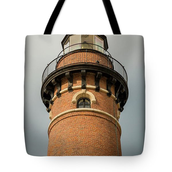 Tote Bag featuring the photograph Top Of Little Sable Point Lighthouse by Adam Romanowicz