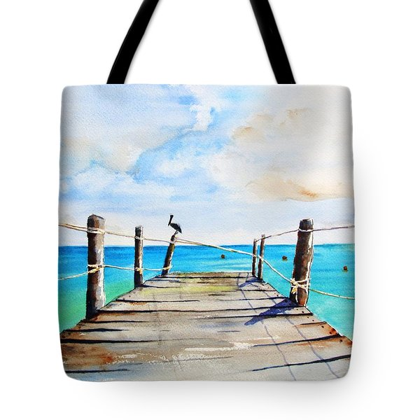 Top Of Old Pier On Playa Paraiso Tote Bag