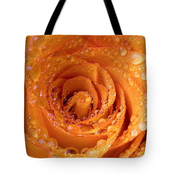 Top View Of An Orange Rose With Droplets Tote Bag