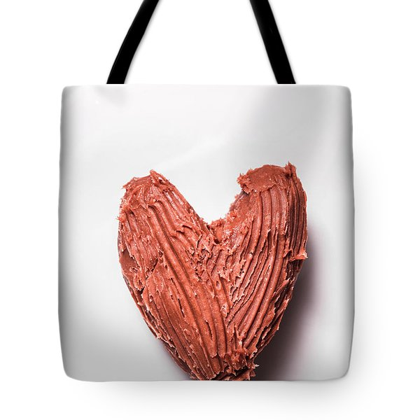 Top View Of Heart Shaped Chocolate Fudge Tote Bag