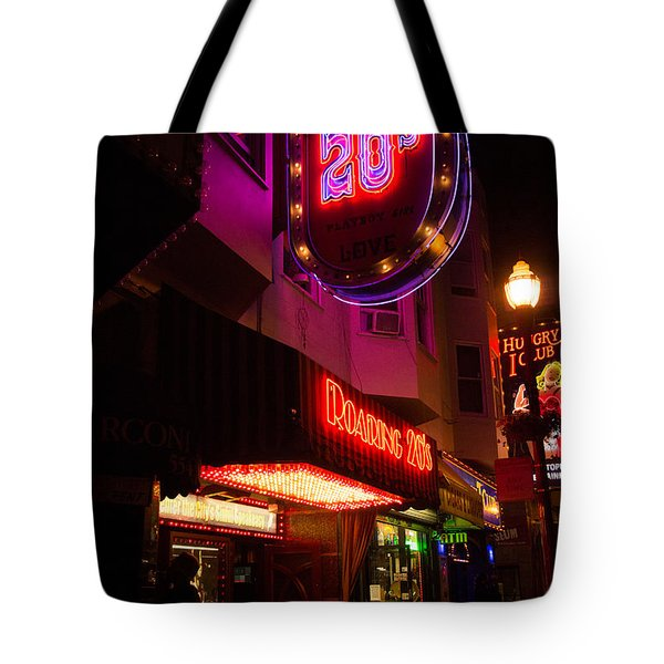 Topless Bar Signs At Night In North Beach San Francisco Tote Bag by Jason Rosette
