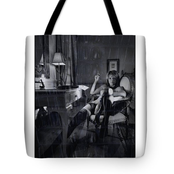 Topless Girl Posing At Desk In Hotel Room Tote Bag