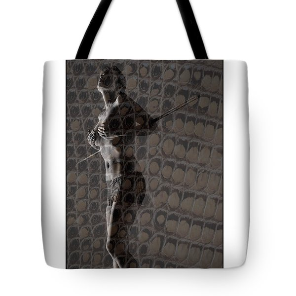 Topless Girl With African Spear Tote Bag