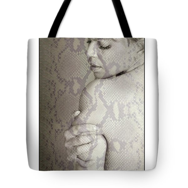 Topless Woman Holding Her Arm Tote Bag