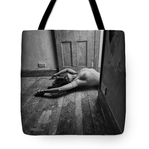 Topless Woman In Doorway Tote Bag