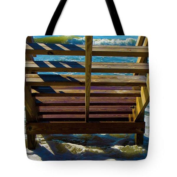 Topsail Island Ocean Steps Tote Bag by Betsy Knapp