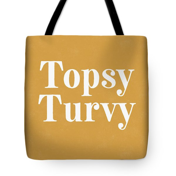 Topsy Turvy Gold And White- Art By Linda Woods Tote Bag