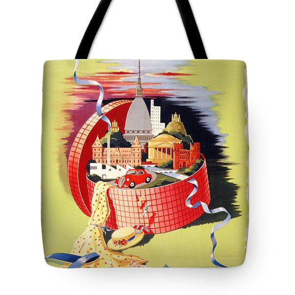 Torino Turin Italy Vintage Travel Poster Restored Tote Bag