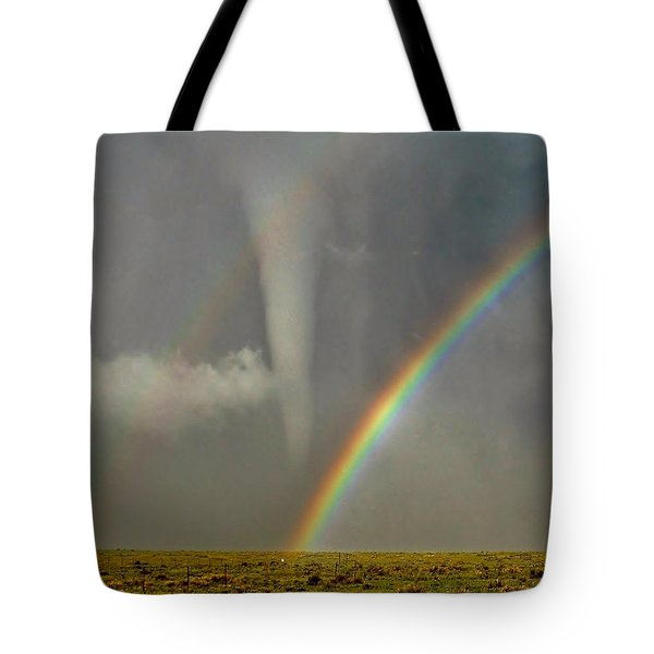 Tote Bag featuring the photograph Tornado And The Rainbow II  by Ed Sweeney