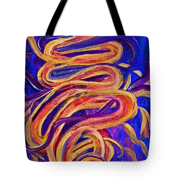 Tote Bag featuring the painting Tornado Swirls by Claire Bull