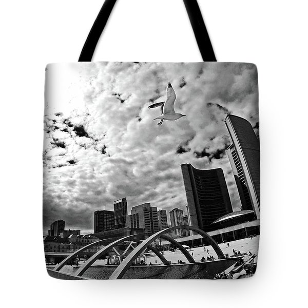 Toronto City Hall Square With Gull Tote Bag by Charline Xia