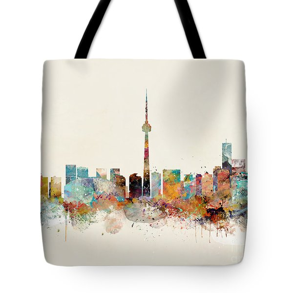 Tote Bag featuring the painting Toronto City Skyline by Bri B