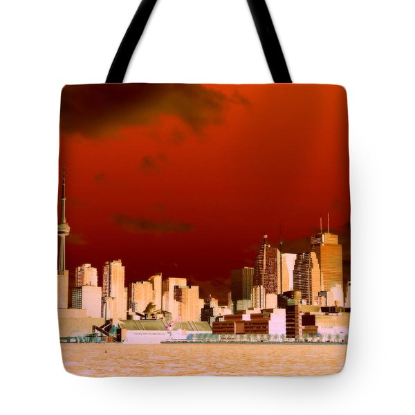 Tote Bag featuring the photograph Toronto Red Skyline by Valentino Visentini
