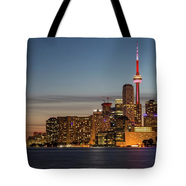 Tote Bag featuring the photograph Toronto Skyline At Dusk by Adam Romanowicz