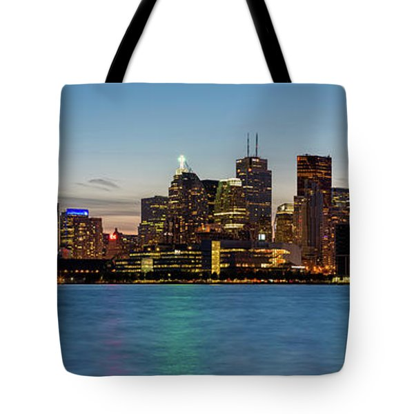 Tote Bag featuring the photograph Toronto Skyline At Dusk Panoramic by Adam Romanowicz