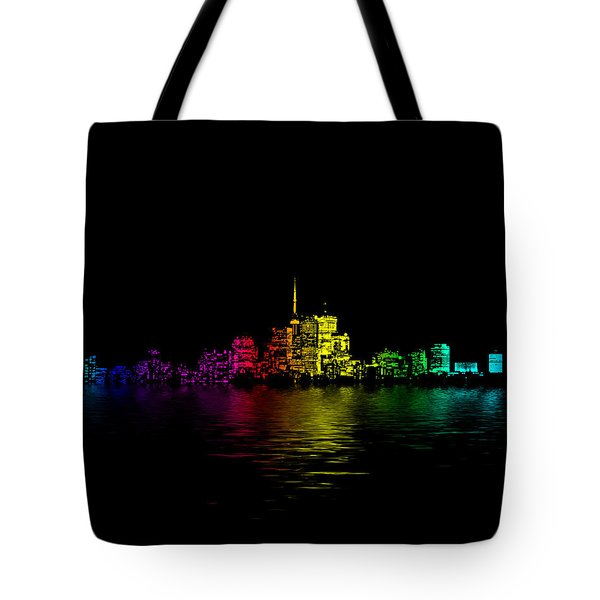 Tote Bag featuring the digital art Toronto Skyline Gradient Flood by Brian Carson