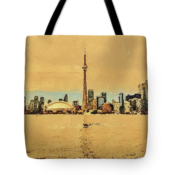 Tote Bag featuring the digital art Toronto Skyline Panorama by PixBreak Art